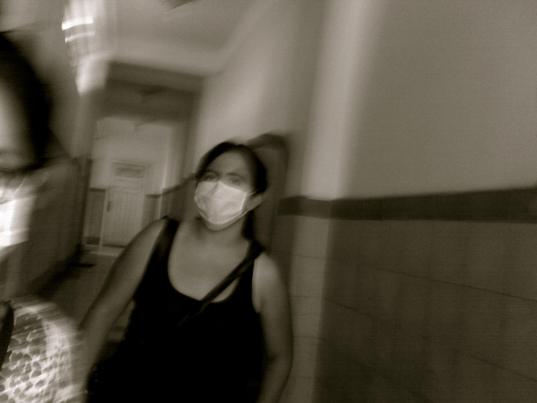 Swine flu with a Flu mask in Mexico City