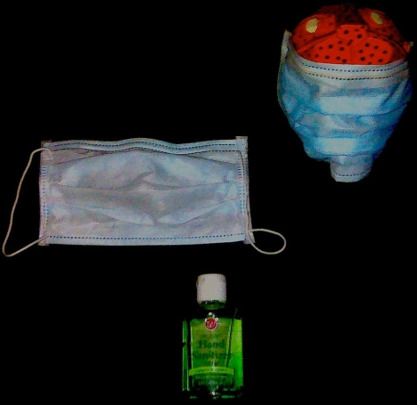 READY FOR FLU BATTLE: This is the typical swine flu survival pack. A bottle of Walgreens hand sanitizer and a face covering known in Mexico as a cubreboca.
