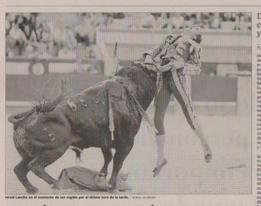 DEADLY POETRY: This ran in the El Pais newspaper yesterday. On May 27th, Bullfighter Israel Lancho, 30, took a brutal loss to a bull he was about to kill.